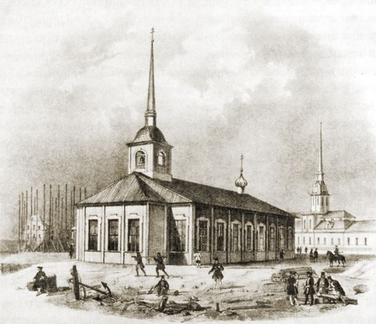 Первая Исаакиевская церковь начала XVIII века в Санкт-Петербурге