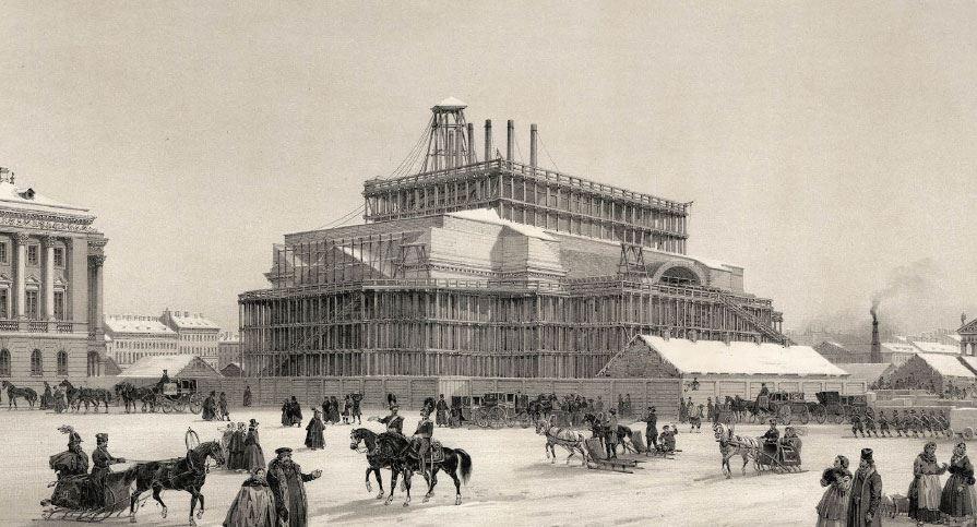 Строительство Исаакиевского собора в Санкт-Петербурге
